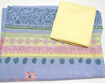 Vintage Twin Flat Sheet & Pillowcase, Blue w/Yellow Pink Green Flowers and Designs, Yellow Case, Dorm Guest Room Bedding,Crafting Quilting