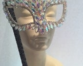 Mask on a stick-rhinestone Feather Mask - costume party- masked ball- Masquerade Ball-Mask on a stick- Masked ball-Prom