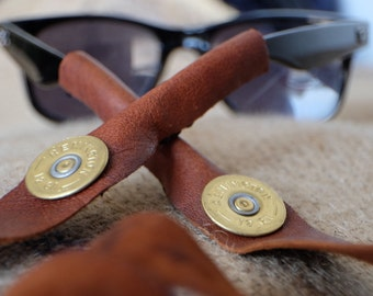 Sunglasses strap Leather croakies Personalized Leather shotgun handmade real 12 gauge shells ray ban aviator shades leather case glassess