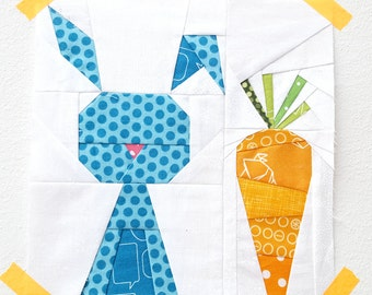Funny Bunny quilt block  pattern - paper piecing block - rabbit quilt