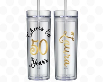 Cheers to 50 years - 50th birthday gift - 50th birthday gift for women -  50th anniversary gifts for parents - 50th birthday tumbler - 50