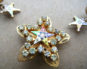 Vintage Masonic Brooch - Vintage Masonic Earrings - Masons Jewelry Set - Masonic Star Pin - Rare Masons Collectible - Eastern Star