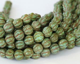 Turquoise Picasso Czech Glass Beads, 8mm Melon - 25 pcs - eT6313-08