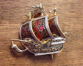 Sale Vintage SPAIN Dramascene Galleon  Maltese Cross Spainard Ship Pin/Brooch