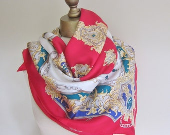 Silk scarf, Oscar de la  Renta SILK scarf, CLASSIC accessory, traditional JEWEL colors, silk square scarf, carre