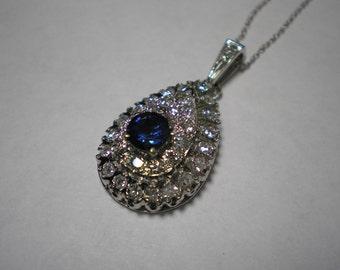 Vintage 14 kt Gold Art Deco Diamond Sapphire Pendant Necklace 18 Inches