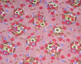Japanese Flowers Pink Cotton Fabric, Fabric By The Yard, Pink Cotton Fabric, Floral Cotton Fabric