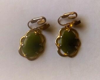 Vintage Jade Earrings 1960s