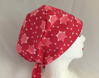 Scrub Hat Tie Back Pixie Pink and Red large polkadots