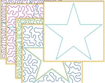Quilt in the hoop 100 mm embroidery pattern - five point star for 100 mm hoop