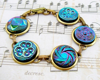 Blues - Vintage Czech glass button bracelet, repurposed jewelry, up-cycled jewelry