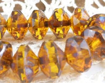 Amber Central Cut Saucer Czech Glass Beads - (7 beads) - 0762/SAU