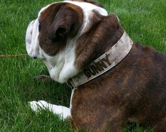 """Military Martingale Dog Collar 1"""" And 1.5"""" Embroidered w/dogs name - Availlabe In  Army, Navy, Marine And Air Force - S, M, L, XL"""