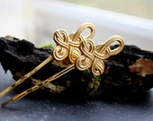 NEW Gold Celtic Knot bobby pin - Gold celtic knot hairpin, mythology, celtic, unique hairclips, hair accesories, gold bobby pins