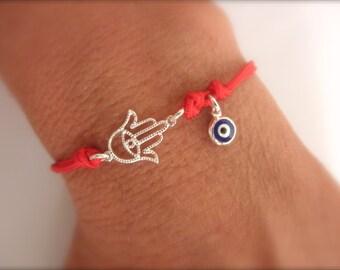 Hamsa and evil eye charm cord bracelet - protection bracelet - adjustable bracelet - evil eye bracelet - cord bracelet -