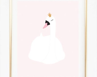 Swan Poster, Swan Illustration, Kids Room Decor, Nursery Room Decor, Pink Art, Elegant Swan, Girls Room Wall Hanging, Baby Shower Gift Idea