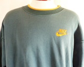 vintage 90's Nike solid loden blue green graphic sweatshirt embroidered yellow orange swoosh striped crew neck collar pullover jumper large