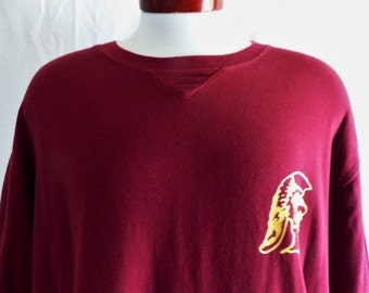 Go Trojans vintage 90's USC University of Southern California college varsity graphic t-shirt burgundy wine red picque knit chest logo XL