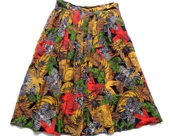 Vintage 80's Abstract Print Skirt UK 14