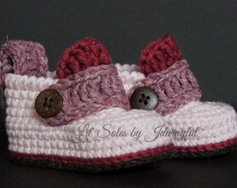 Crochet Baby Shoes, Crochet Baby Booties, Baby Girl Shoes, Baby Shoes, Baby Girl Booties, Pink Baby Shoes, Pink / Brown, Baby Gift