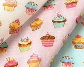 Cup Cakes Design Japanese Fabric / Double Gauze - 110cm x 50cm
