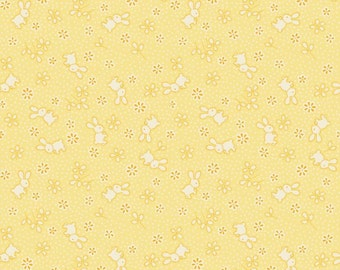 Fat Quarter Toy Chest Bunnies Rabbits on Yellow 100% Cotton Quilting Fabric