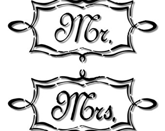 Mr. & Mrs. Script / Cursive Sign Stencil // wood sign // wall decor // painting // craft