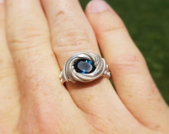 London Blue Topaz Facet Wire Wrapped Ring