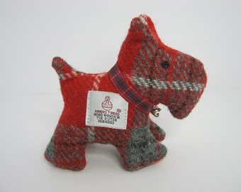 Red and Grey check Harris Tweed Scotty Dog
