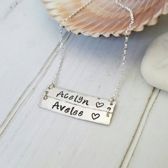 Sterling bar necklace, Sterling silver name bar,  Double bar necklace, Personalized Two name necklace, Custom name bar, 2 names bar necklace