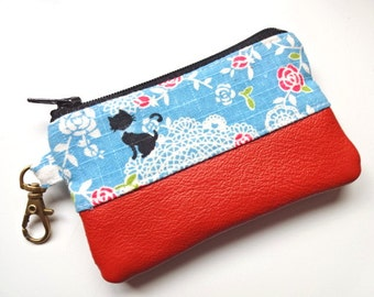 Leather & Cotton Coin/Card Purse - Cat