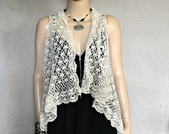 Boho Vest, Crochet Vest, Bohemian, Hippie, Retro, Cream Vest, Crochet Lace, Crochet Cover-up, Hand Made Vest