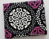 Patchwork Cotton Fabric, Black Cotton With White Grey Purple Floral Fabric Kimono Cotton Fabric-  1/2 yard