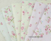 Floral Fabric, Little Pink Rose Flower Cotton Fabric, Pale Aqua Blue Yellow Pink With Rose Dots Cotton - 1/2 Yard