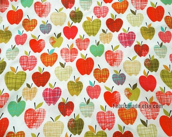 Child Kids Cotton Fabric Quilting Fabric, Red Apple Colors Apple Cotton Fabric- 1/2 Yard