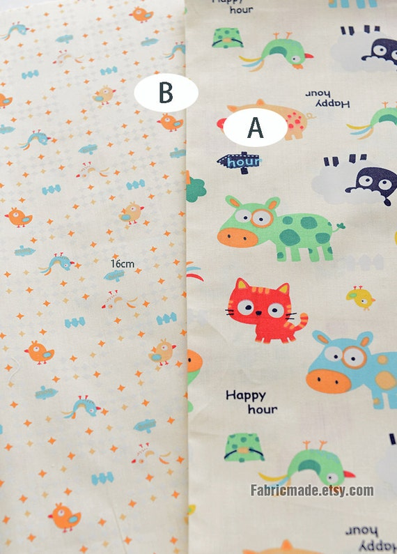 Cartoon kids fabric cute animal cotton fabric children for Cotton fabric for children s clothes