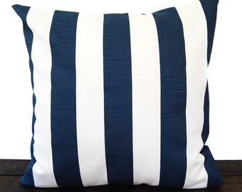 Navy Blue pillow cover One cushion cover in Premier Navy Slub on white throw pillow ocean beach decor sham Canopy Stripe