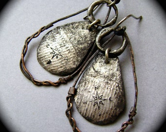 Find Your Way, mixed metal jewelry, soldered jewelry, compass jewelry, lightweight earring, rustic tribal, ooak hoop earring, AnvilArtifacts