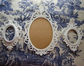 White ornate frames 3 pc set oval frames wedding frames nursery frames home decor wall frames hanging wall decor