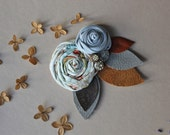 Rustic Leather Antique Button Hair Clip // Recycled Leather Rose Hair Clip Grey Blue + Floral // Ready to Ship Hair Clip