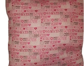 Kiss, Love Pink Valentine's Day Decorative Pillow