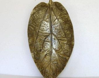 "SALE, Harvin 40's gold Budha's Coconut Leaf Dish, tray, Virginia Metalcraft, #3512, 13"" tall, Oskar Hansen, Mid Century Style,  gift idea"