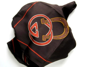 """Classic Vintage Gucci Silk Scarf, Brown and orange logo, Woman's Accessory, 34"""" x 34"""", Equestrian, hand rolled hem, Made in Italy, gift idea"""