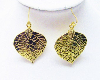 Accented Gold Plated Etched Leaf Earrings