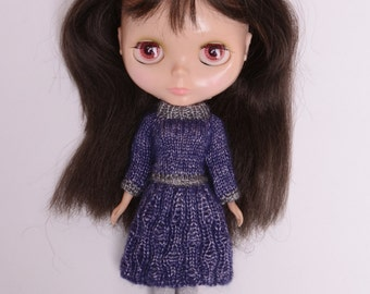 Blythe doll sized soft purple and silver grey knit dress with stunning pattern work for Neo Blythe Licca Pullip Licca Dal