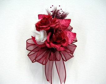 Corsage for Celebrations, Burgundy wearable corsage, Special celebrations, Anniversary floral corsage, Wedding corsage, Prom corsage (GN129)