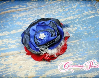 Royal Blue, Navy, Red Hair Piece, July 4th Hair Clip, Baby Headband, July 4 Hair Accessory, American Flag Hair Accessories, Patriotic Colors