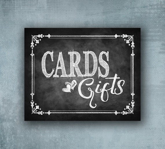 ... sign, Printed Chalkboard Cards and gifts Sign, Card box sign, Card