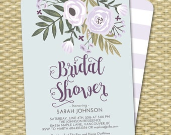 Printable Bridal Shower Invitation Lavender and Blue Floral Bridal Shower Flowers Printing Available