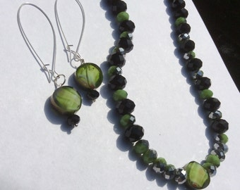 Lime Black and Silver Kidney Earrings